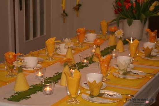 frühlingshafte Tischdekoration in gelb