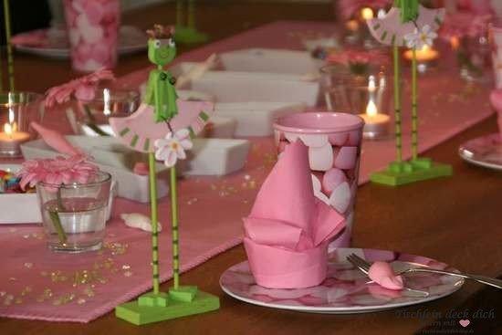 Froschpaerchen rosa gruen für Tischdeko Kindergeburtstag 3