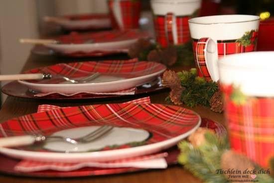Tischdekoration Weihnachten im Schottenrock Detail