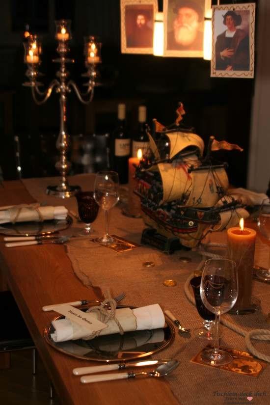 Tischdekoration portugiesische Seefahrer mit Santa Maria