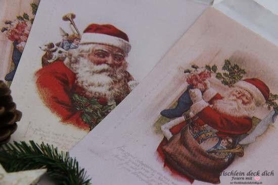 Adventskalender Weihnachtsmann Papier Tüten