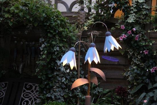 Selbstgemachte Gartenlampe Detail