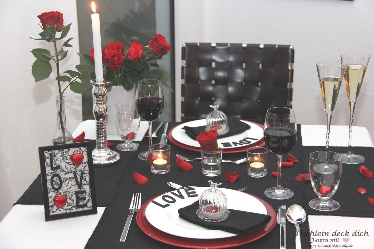 Tischdekoration Valentinstag Candlelight Dinner Tischlein Deck Dich
