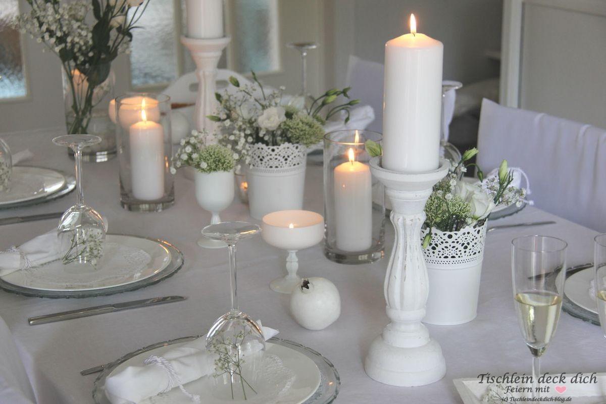 White dinner tischdeko tischlein deck dich - Tischdeko januar ...