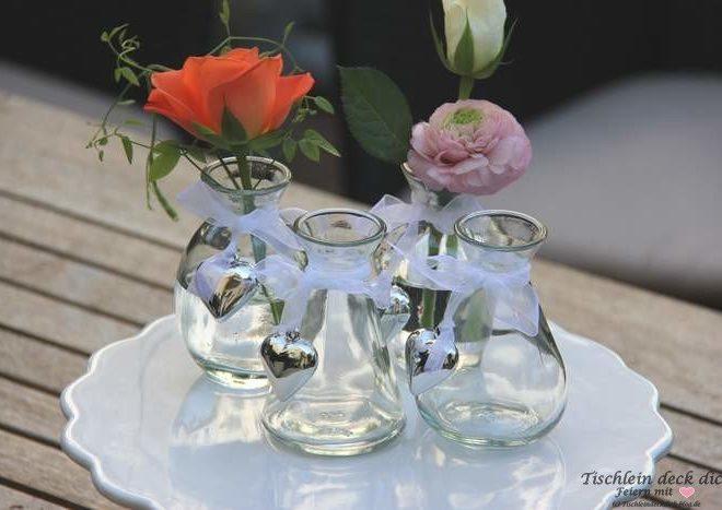 Kleine Glasvase mit Herz