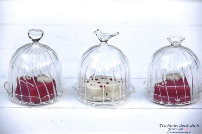 Kleine Glashauben als Gastgeschenk