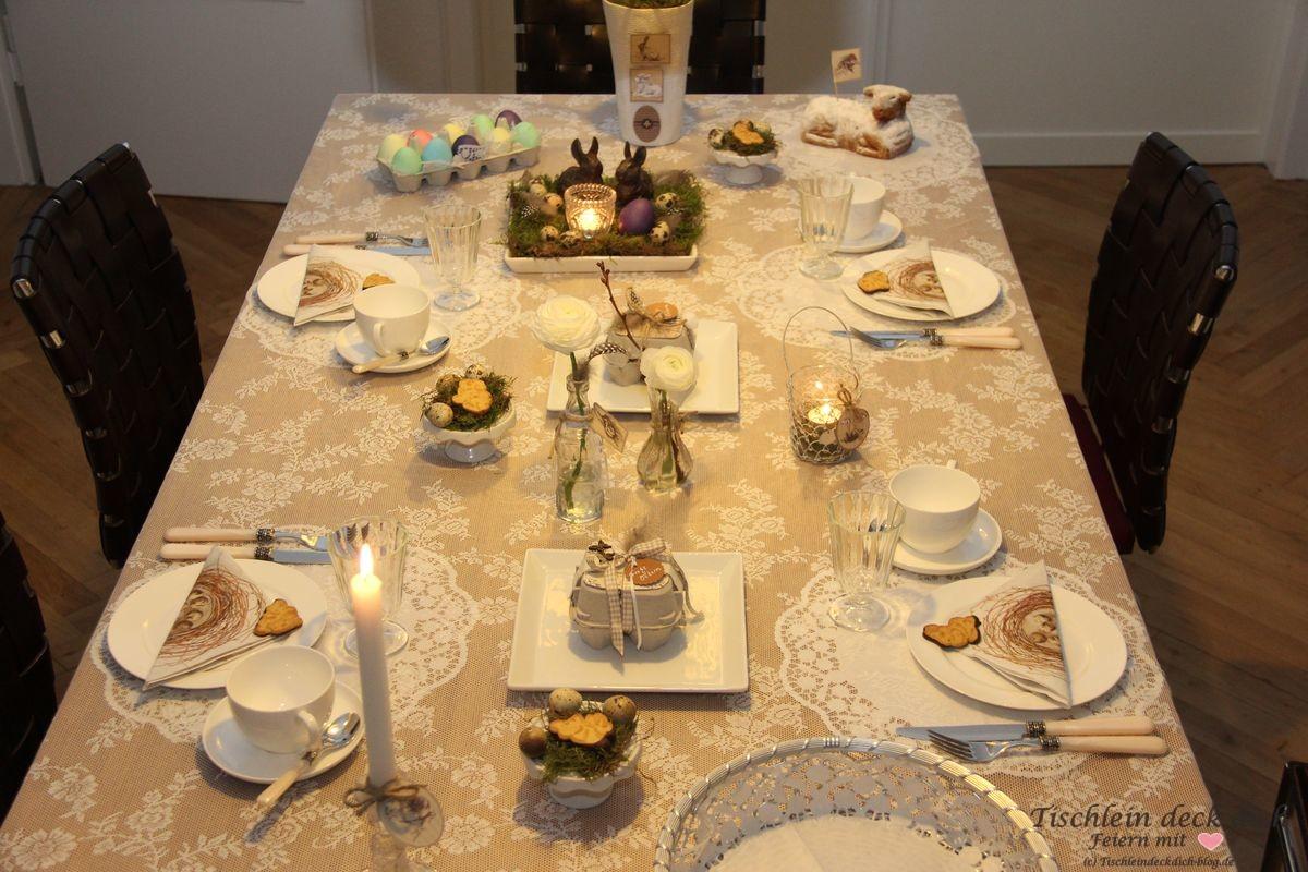 Ostern Mal Vintage Tischdekoration In Naturfarben
