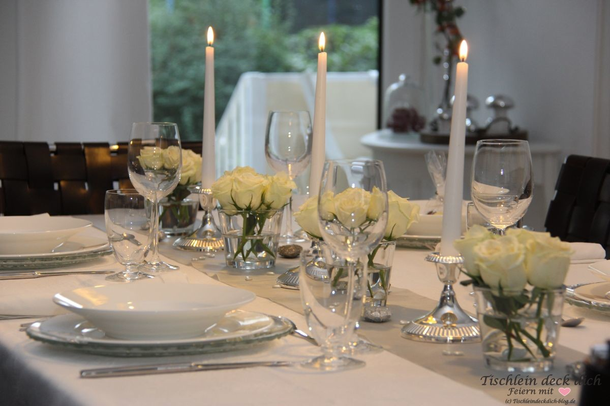 candle light dinner for four zur silberhochzeit tischlein deck dich. Black Bedroom Furniture Sets. Home Design Ideas