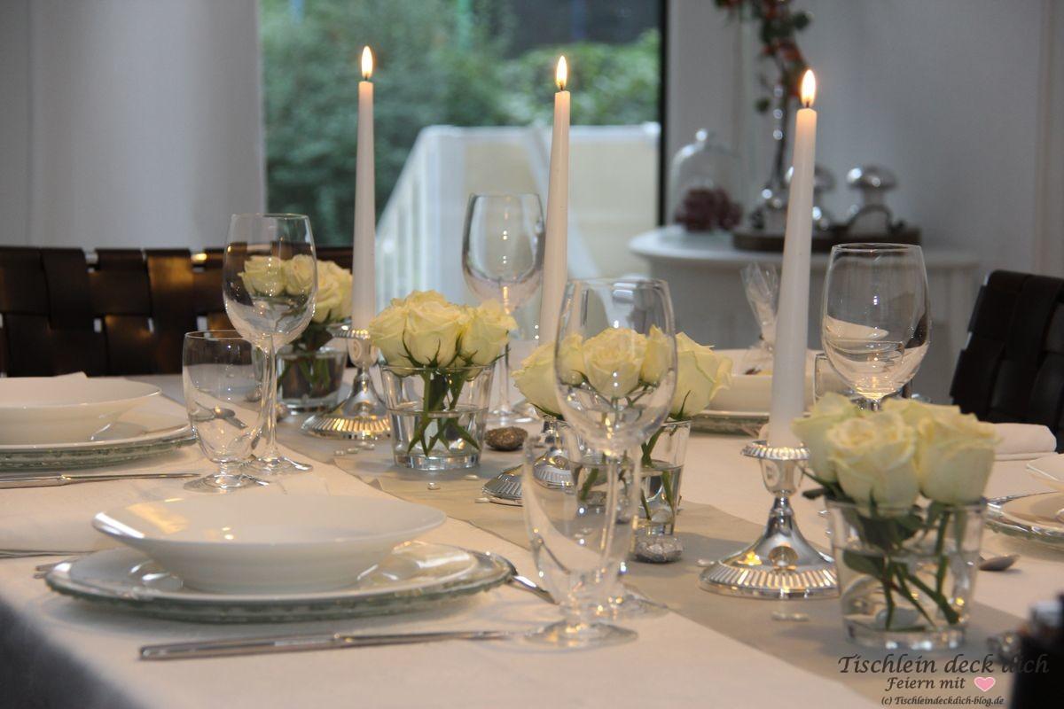 Silberhochzeit Tischdeko