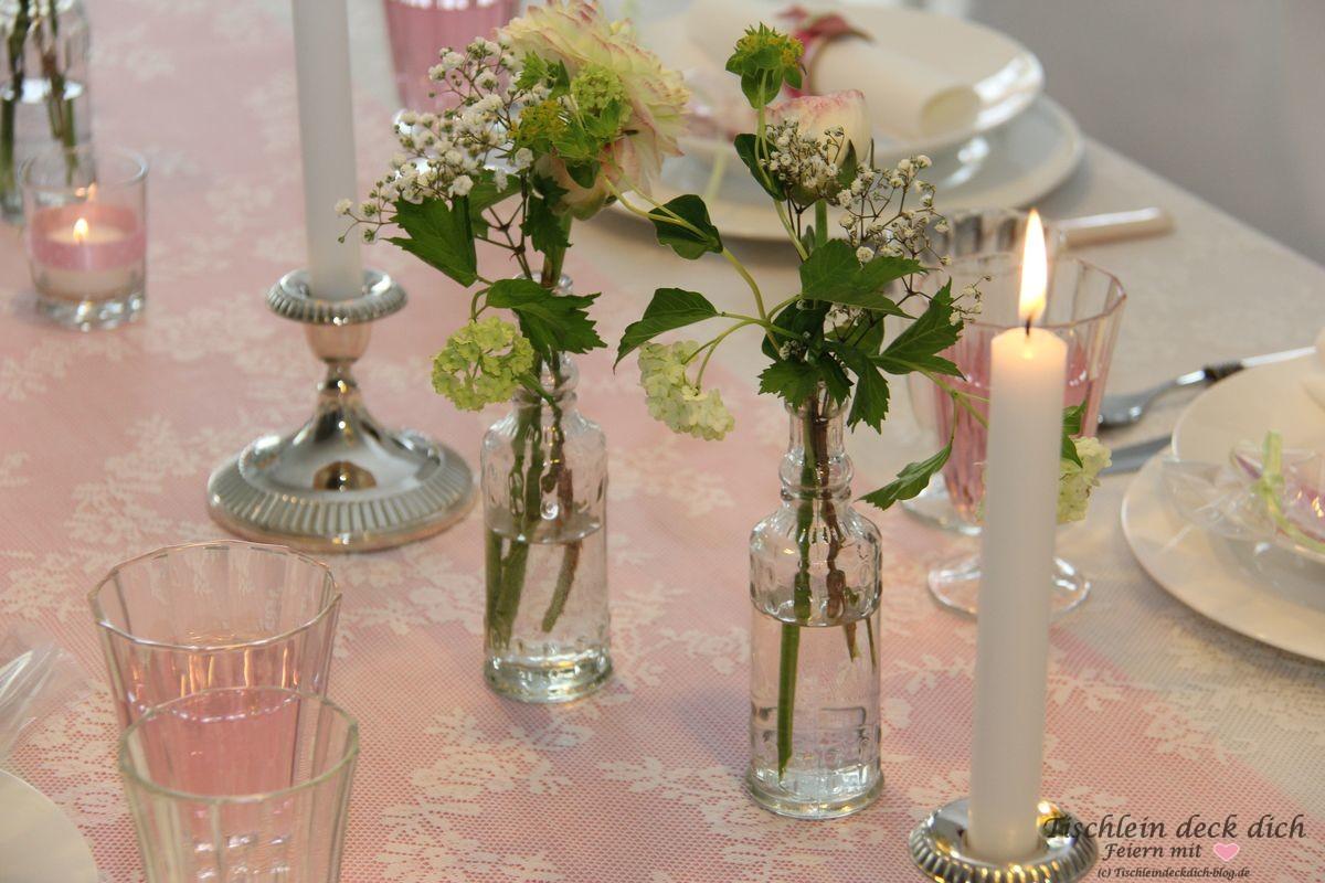 Kommunion maedchen tischdeko tischlein deck dich for Tischdeko rosa