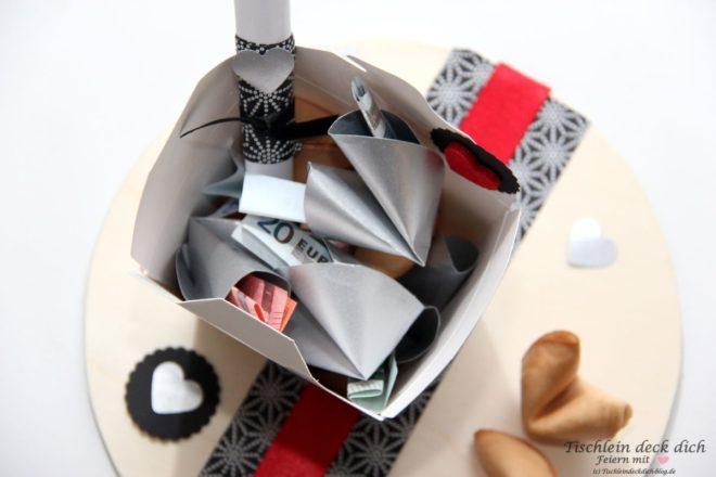 Glueckskekse Geldgeschenk zur Silberhochzeit