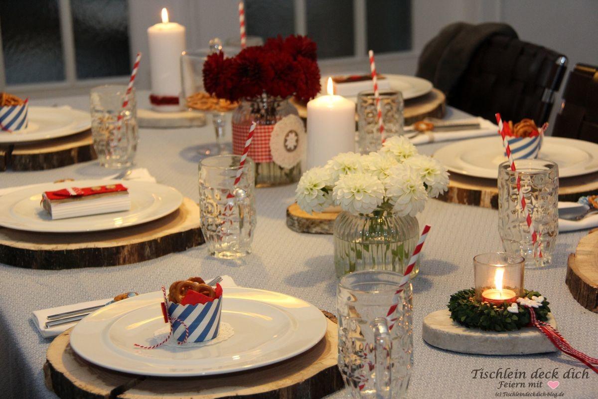 Oktoberfest Tischdekoration Blau Weiss Rot Tischlein Deck Dich