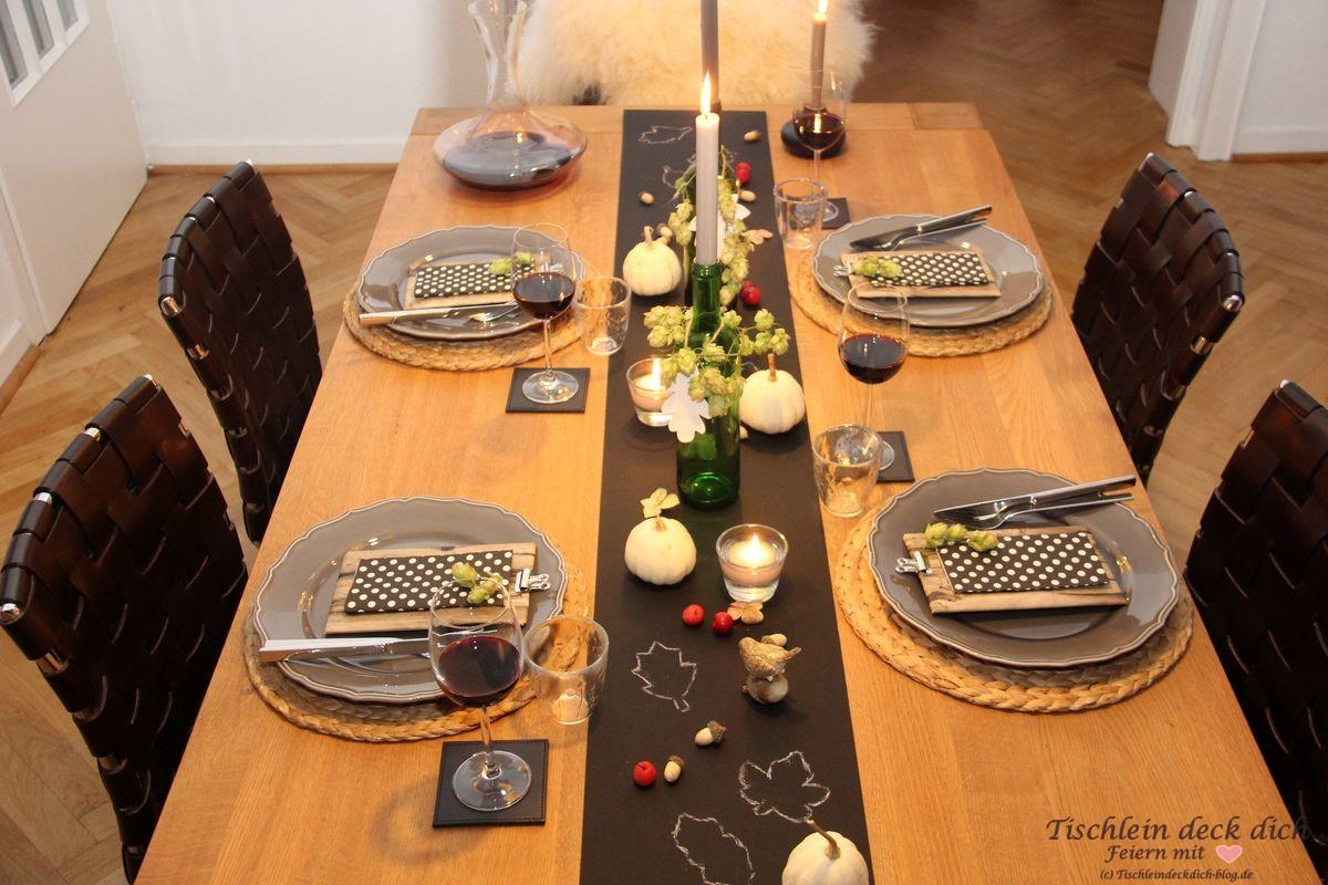 Herbst Tischdeko Holztisch Tischlein Deck Dich