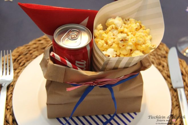 USA Wahlparty Tischdeko Stars and Stripes Popcorn