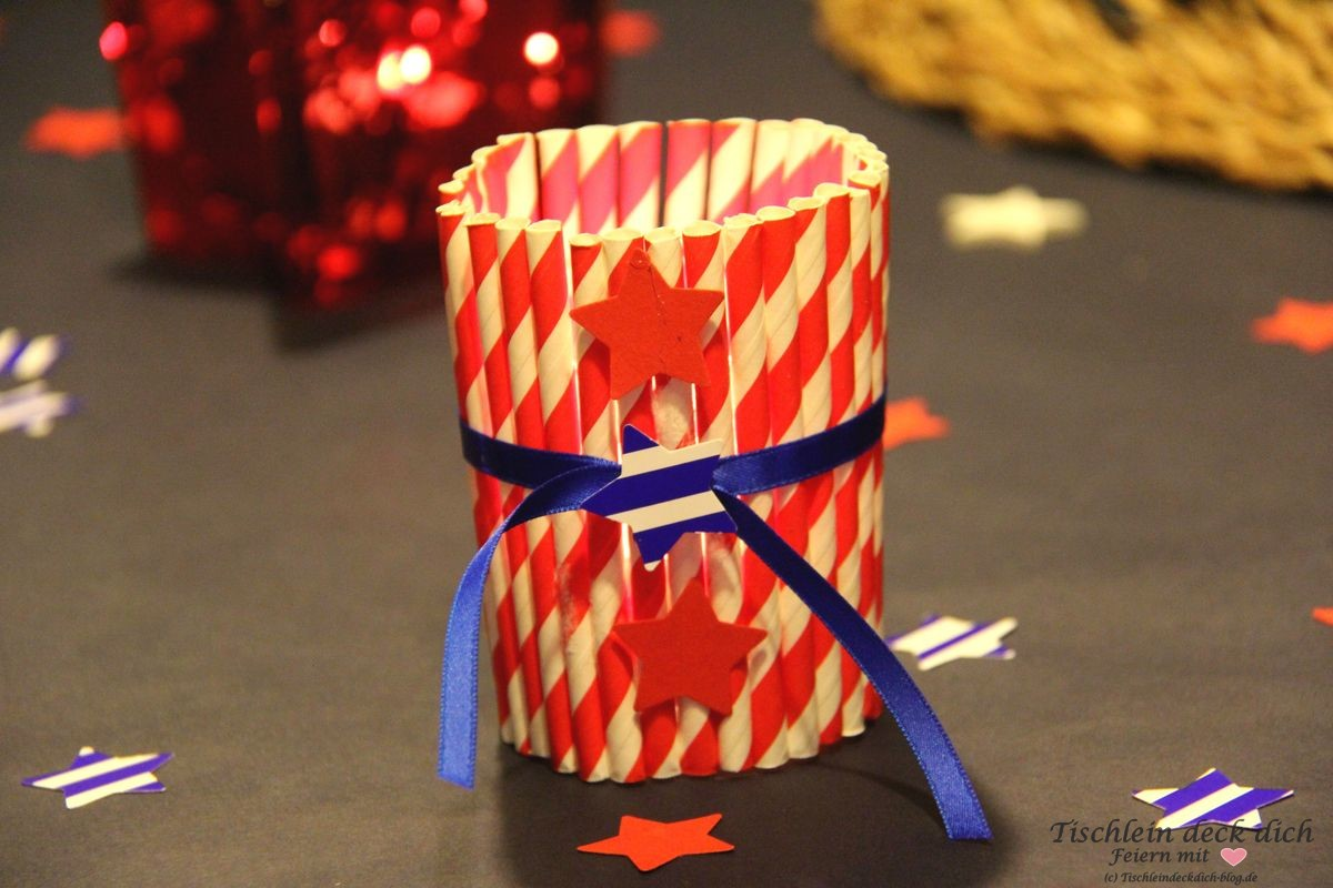 USA Wahlparty Tischdeko Stars and Stripes Teelicht