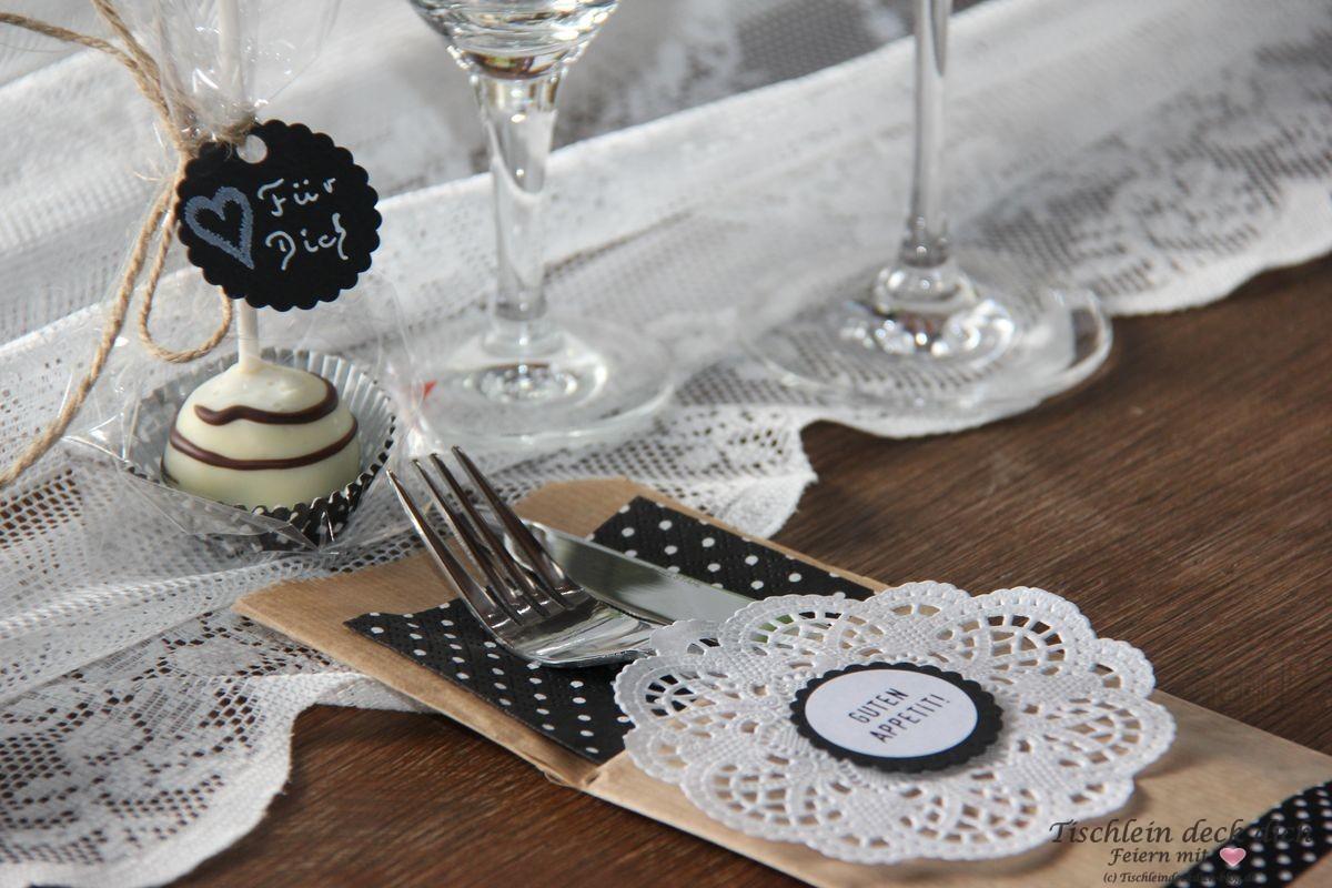 Tischdekoration zum 50. Geburtstag Bestecktasche