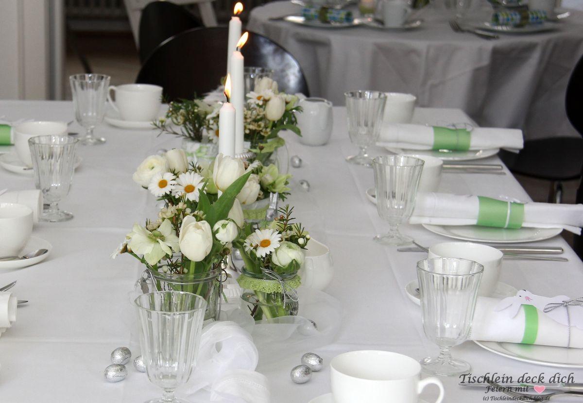 Osterbrunch Fruhlingshafte Tischdekoration In Grun Weiss